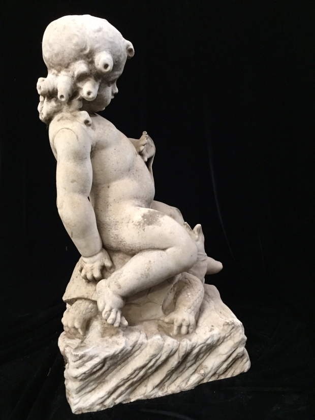Exceptional Italian L18E19c hand carved marble seated boys fountains (13)