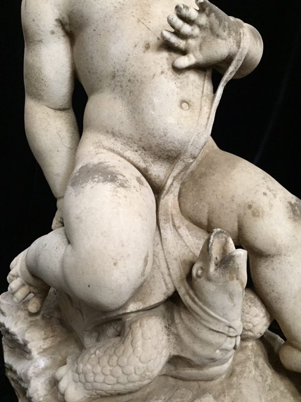 Exceptional Italian L18E19c hand carved marble seated boys fountains (15)