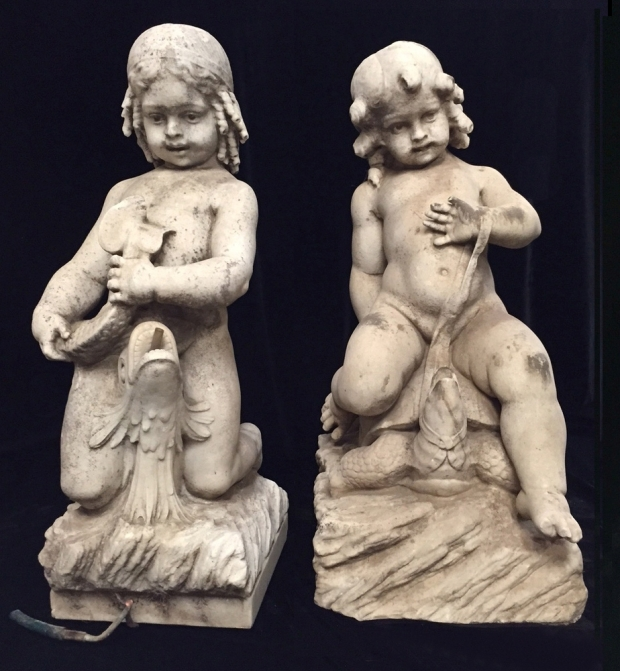 Exceptional Italian L18E19c hand carved marble seated boys fountains (6)