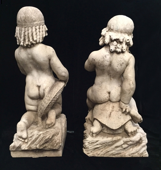 Exceptional Italian L18E19c hand carved marble seated boys fountains (7)