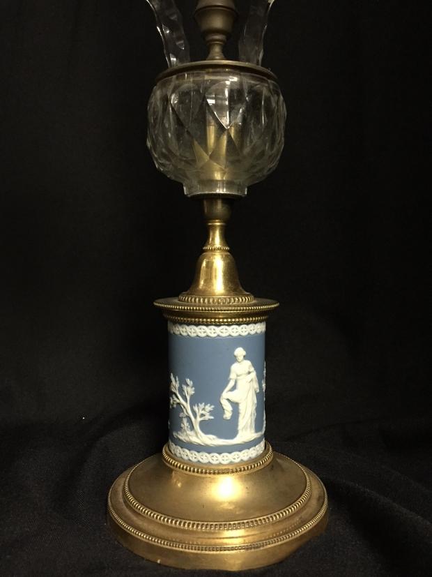 18c George III cut crystal and jasper ware candelabra (2)