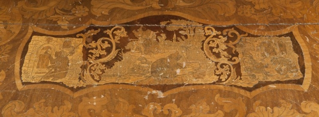 Exceptional 19c German finely carved and finely inlaid desk (3)