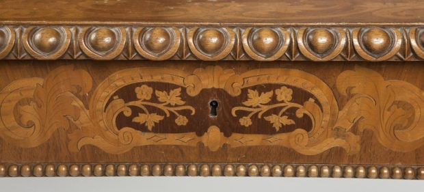 Exceptional 19c German finely carved and finely inlaid desk (6)