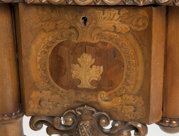 Exceptional 19c German finely carved and finely inlaid desk (7)