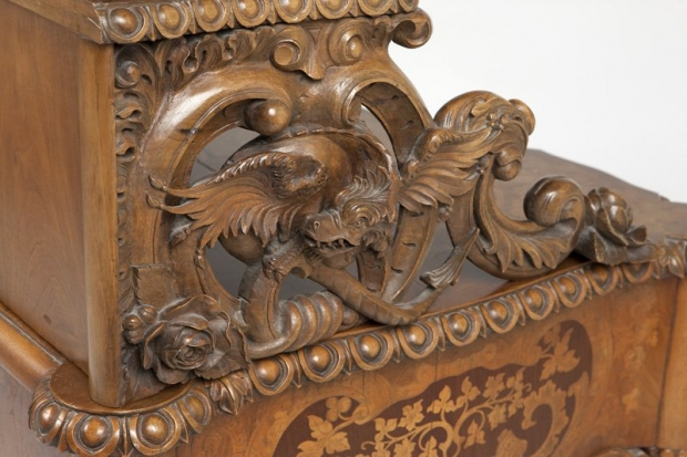Exceptional 19c German finely carved and finely inlaid desk (9)