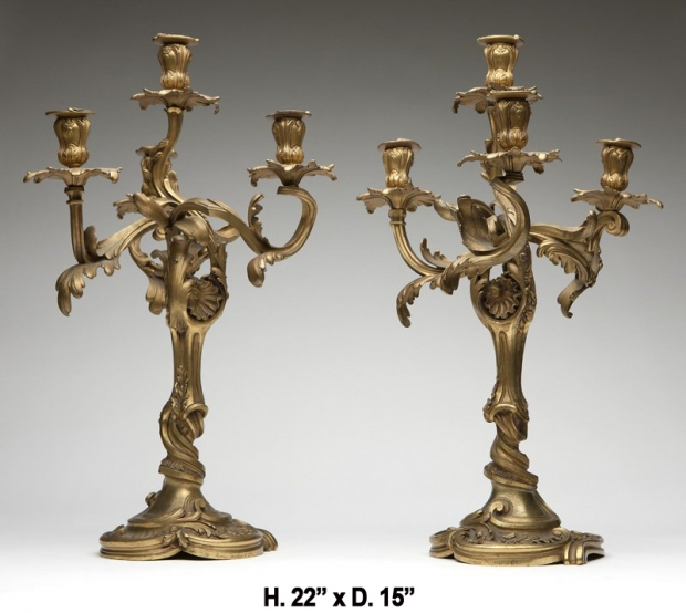 Signed Henry Dasson 19c French ormolu 4 light candelabra