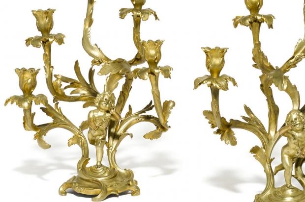 Unusual 19c Pair Louis XV Style ormolu 5L figural candelabra (1)