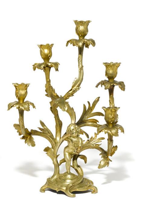 Unusual 19c Pair Louis XV Style ormolu 5L figural candelabra (2)