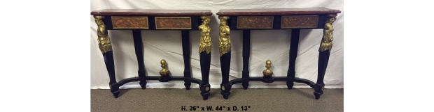 Unusual Pr 19c French bronze mounted faux painted consoles w faux porphyry tops