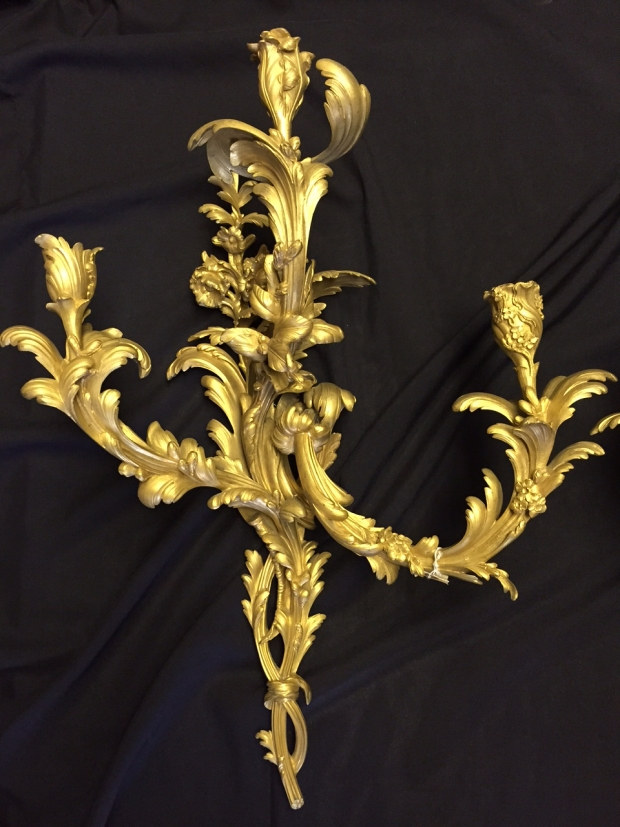 Extremely fine 19c louis XV style 3 light sconces (2)