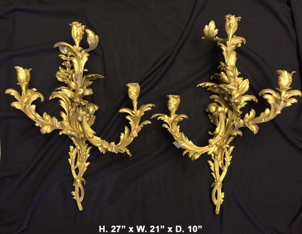 Extremely fine 19c louis XV style 3 light sconces
