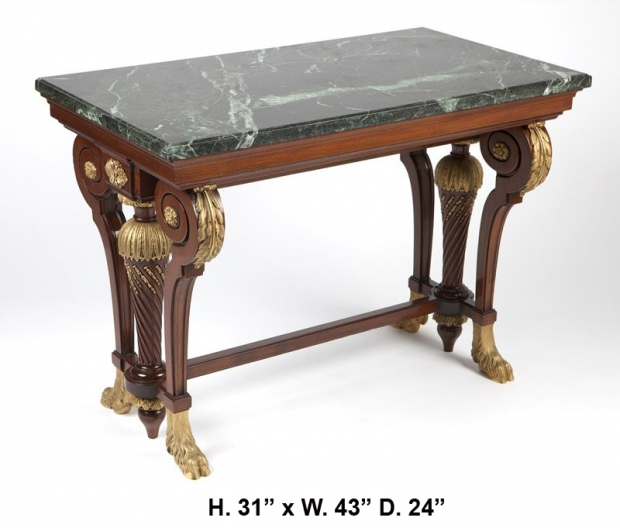 Signed Krieger Extremely fine ormolu mounted center table with green marble top