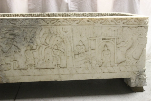 Large Impressive 18-19c Italian carved marble planter (2)