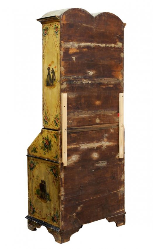 18c Italian Chinoiserie Imperial Yellow Painted Secretary Cabinet
