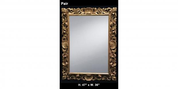 Pair 19c early 20th century italian roman baroque style for Rectangular baroque mirror