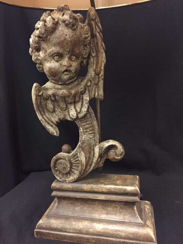 Pair Italian Baroque style carved angel head table lamps (1)