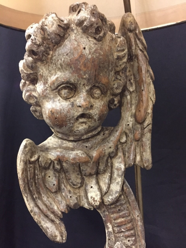 Pair Italian Baroque style carved angel head table lamps (2)
