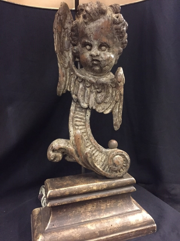 Pair Italian Baroque style carved angel head table lamps (3)