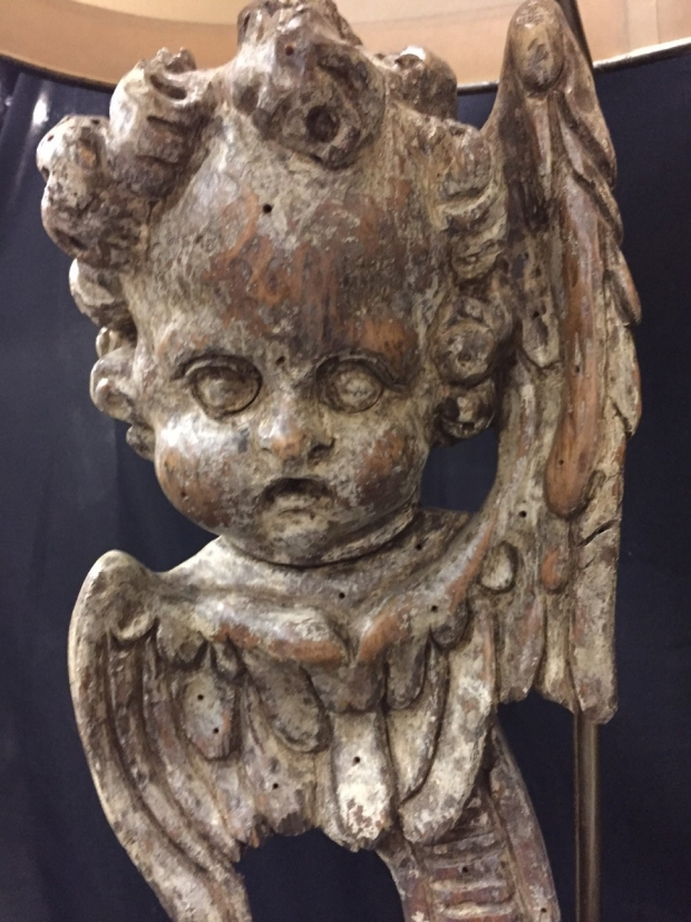 Pair Italian Baroque style carved angel head table lamps (4)