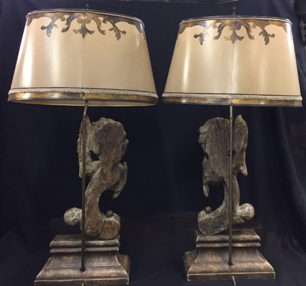 Pair Italian Baroque style carved angel head table lamps (5)