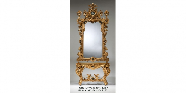 19c Italian baroque style carved giltwood and Pietra Dura console mirror