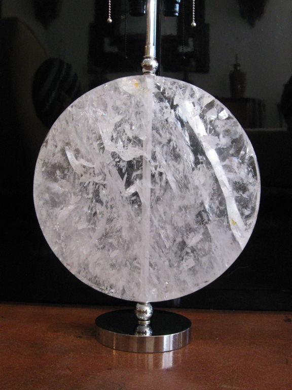 Rock Crystal Disk Lamp with chromed bronze base (5)