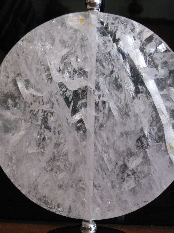 Rock Crystal Disk Lamp with chromed bronze base (6)