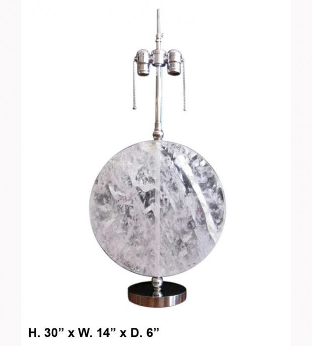 Rock Crystal Disk Lamp with chromed bronze base