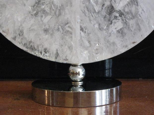 Rock Crystal Disk Lamp with chromed bronze base (7)