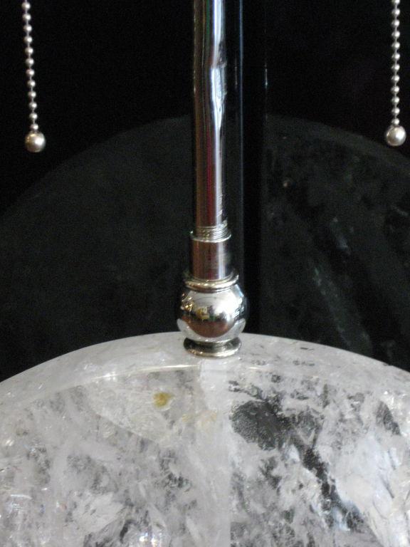 Rock Crystal Disk Lamp with chromed bronze base (8)