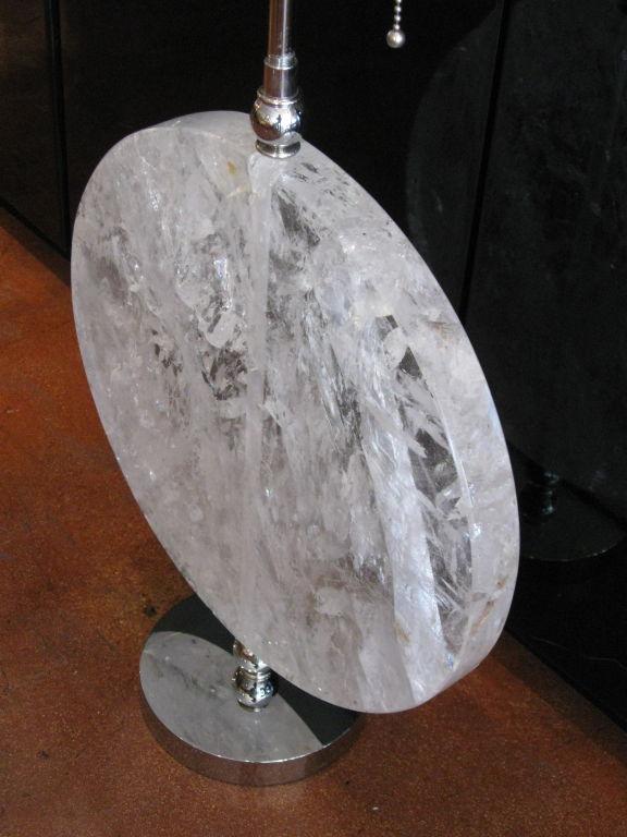 Rock Crystal Disk Lamp with chromed bronze base (9)