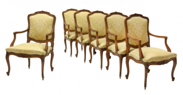 Set 12 French Louis XV Style carved walnut armchairs Mid 20C (4)