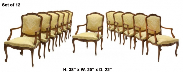 Set 12 French Louis XV Style carved walnut armchairs Mid 20C