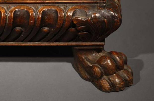 Italian Baroque Walnut Credenza with Lions Feet