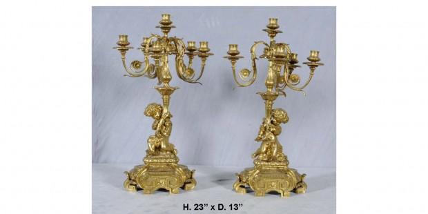 19th Century Pair French Dore Bronze Figural Candelabra
