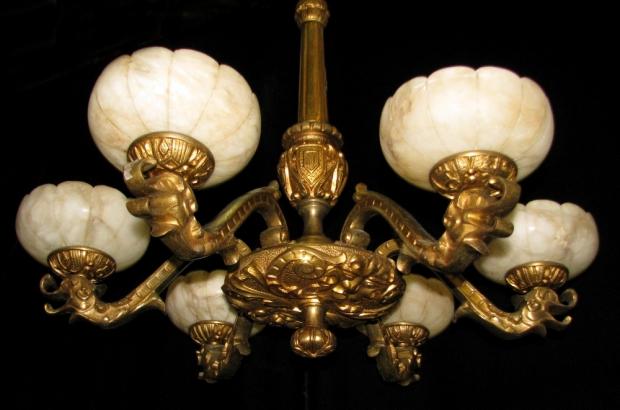 CH13  19c Italian gilt bronze and alabaster 6 light chandelier (2)