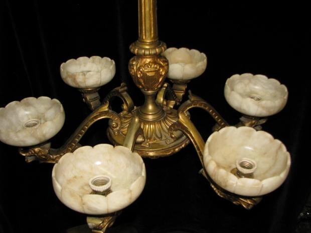 CH13  19c Italian gilt bronze and alabaster 6 light chandelier (3)