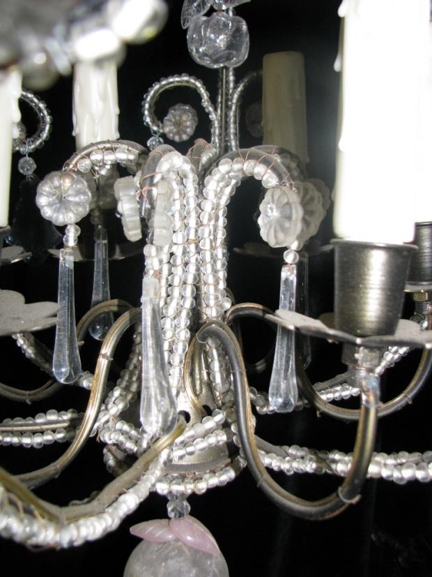 CH32  Small Venetian crystal beaded 6 light chandelier Mid20C (2)