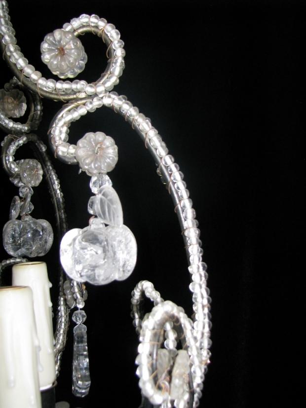 CH32  Small Venetian crystal beaded 6 light chandelier Mid20C (3)