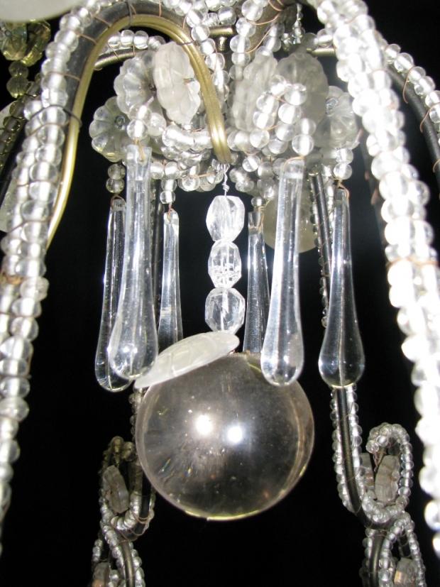 CH32  Small Venetian crystal beaded 6 light chandelier Mid20C (5)