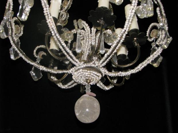CH32  Small Venetian crystal beaded 6 light chandelier Mid20C (6)