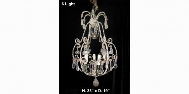 CH32  Small Venetian crystal beaded 6 light chandelier Mid20C