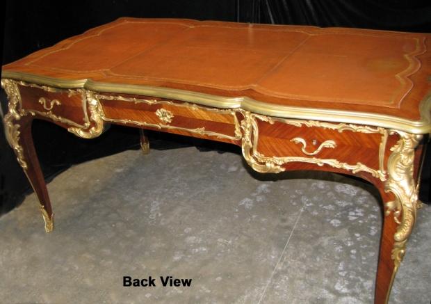 Fine and unusual 19c French louis XV style ormolu mounted kingwood partners  bureau plat (13)
