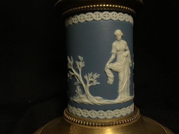 18c George III cut crystal and jasper ware candelabra (3)