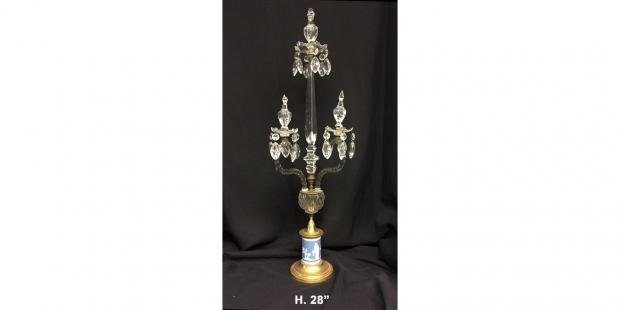 18c George III cut crystal and jasper ware candelabra
