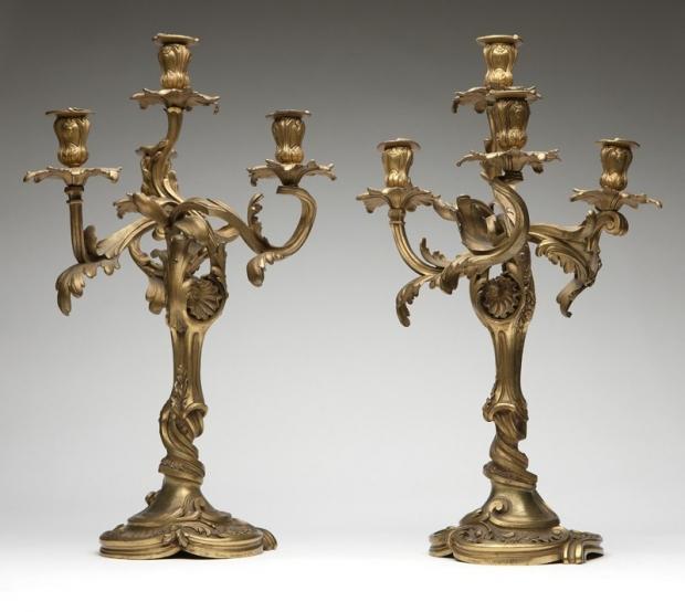 Signed Henry Dasson 19c French ormolu 4 light candelabra (1)