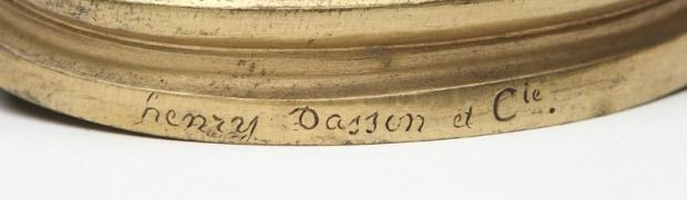 Signed Henry Dasson 19c French ormolu 4 light candelabra (2)