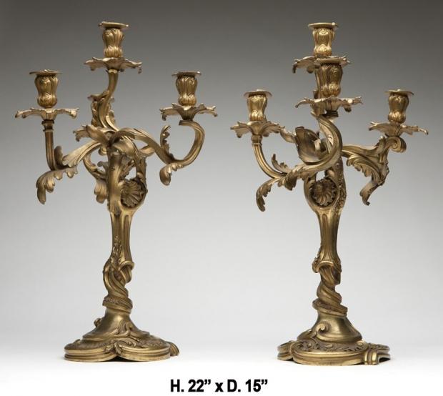 Signed Henry Dasson 19c French ormolu 4 light candelabra