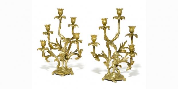 Unusual 19c Pair Louis XV Style ormolu 5L figural candelabra