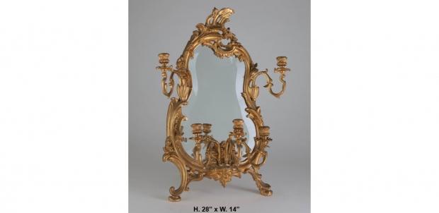French Ormolu Miniature Girandole Mirror